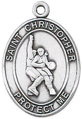 St. Christopher Sports Medal-Basketball silver necklace, st. christopher necklace, sports necklace, girl necklace, boy necklace, athlete gift,  first communion gift, reconciliation gift, sacramental gift, sport gift,basketball gift, basketball medal, JC-321/1MFT