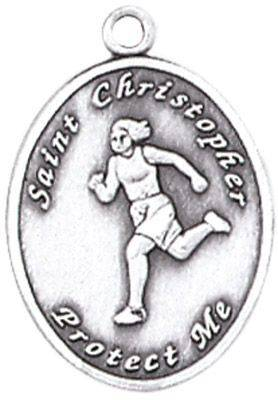St. Christopher Sports Medals-Track (Women) silver necklace, st. christopher necklace, sports necklace, girl necklace, boy necklace, athlete gift,  first communion gift, reconciliation gift, sacramental gift, sport gift, track gift, track medal