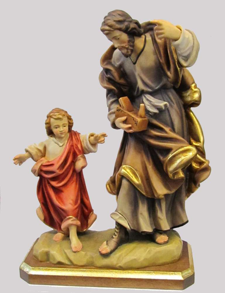 St. Joseph Statue solid wood statue, hand carved statue, italian made state, maple wood statue, home decor, church decor, colored statue, st joseph statue, st joseph with jesus staue, 5047/20