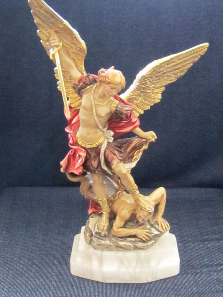 St. Michael Statue st michael statue, colored resin statue, italian statue, home decor, church decor, patron saint of policeofficers,OC1.1250.22