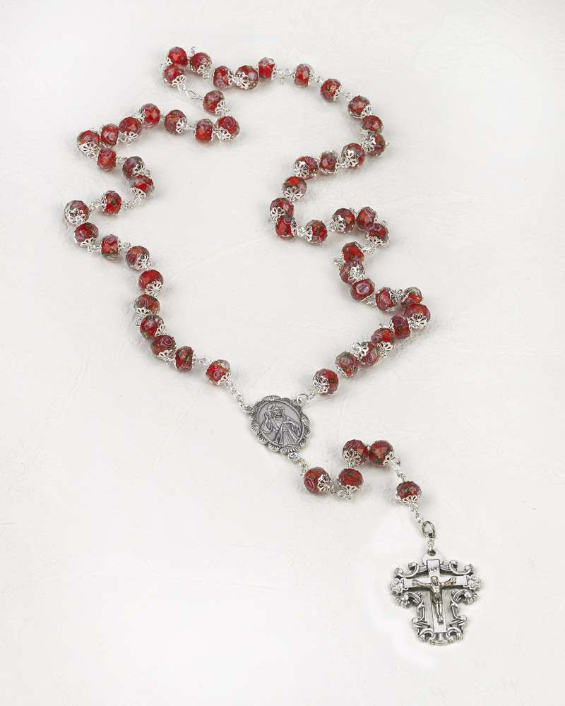 Year of Mercy Rosary, Red Crystal pope francis, year of mercy, mercy rosary, crystal rosary