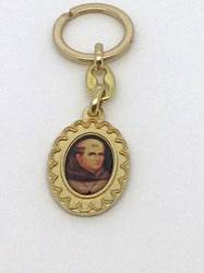 "1.75"" St. Junipero Serra Oval Colored Keyring keyring, keychain, patron saint keyring, auto accessory, st. junipero serra, gold colored keychain, 103364"