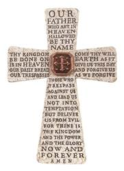 "10"" Lord%27s Prayer Standing Cross  our father prayer, the our father, the lords prayer, the lord%27s prayer, prayer cross, mass prayer cross, standing cross, catholic cross"