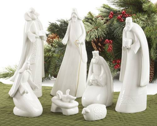 7pc White Porcelain Nativity Set 10 Quot Tall While Supplies