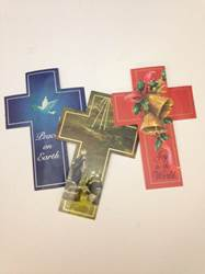 Assorted Christmas Cross Bookmark, Pack of 100 bookmark, seasonal item, joy to the world, christmas bookmark, stocking stuffer, book club, 15077, cross bookmark