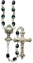 Black Crystal Rosary rosary, crystal beads, black beads, chalice center, first communion rosary, holy eucharist rosary, first communion gift, sr3394bkjc, pewter center, pewter crucifix,