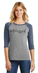 #Blessed Grey/Navy Ladies Ringer Tshirt t-shirts, apparel, clothes, inspirational shirts, message shirts,turtle shell, harbor shirt, blessed, blessing, blessed shirt, ladies shirt