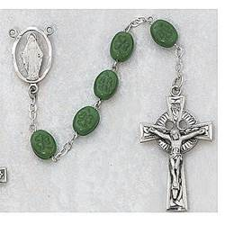 Deluxe Shamrock Rosary rosary, emerald, irish rosary, celtic cross, green beads,120D/F , madonna center, oxidized center, oxidized crucifix