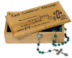 First Communion  Blessings Box first communion rosary, rosary box, gift boy, gift girl, holy eucharist, first holy communion, pearl rosary, black rosary, blessing box, keepsake box, wood box