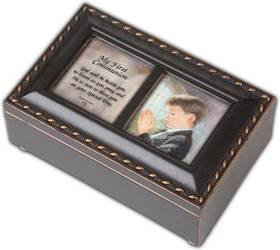 Boy%27s First Communion Wooden Music Boxes first communion gift, first communion music box, first communion picture frame, personalized box, girls music box, boys music box, Ave Maria music, halleujah chorus music,