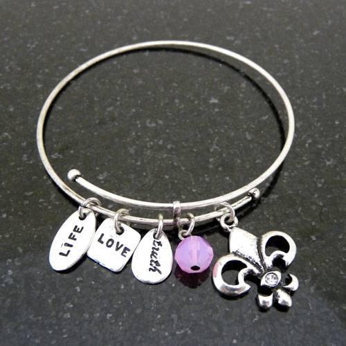 Fleur De Lis Charm Bracelet: Fleur De Lis Charm Bracelet Bangle Bracelet