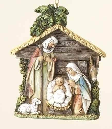 Holy Family With Angel Hair Glass Ornament: Holy Family Ornament