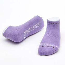 %27I am a great sister%27™ Lavender low-cut with White Words cmas15n, message socks, inspirational socks, i am a great sister, lavender socks, gift, any occasion gift, clothes,
