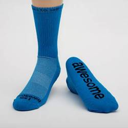 %27I am awesome%27® Neon blue crew with Black Words cmas15n, message socks, inspirational socks, i am awesome, green socks, gift, any occasion gift, clothes,