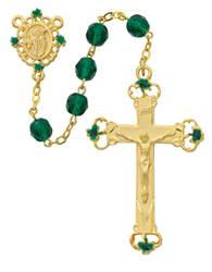 Irish Rosary rosary, emerald and black, irish rosary, gold plated cross, green beads,197H/F , gold plated center, gold platedcrucifix