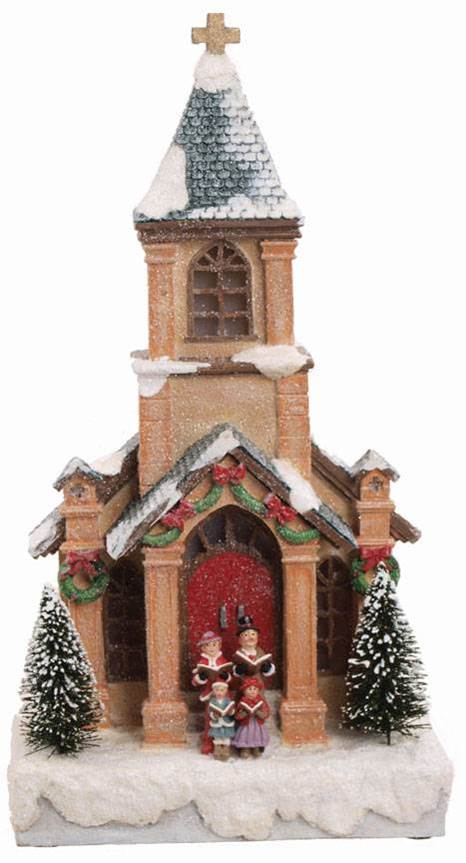 LED Lighted, Musical Christmas Church Figurine *PREORDER FOR FALL 2016 DELIVERY* church statue, church figurine, musical church, church that plays music, christmas carolers, christmas carols, christmas church scene, christmas church figurine, christmas music box, christmas songs, christmas musical