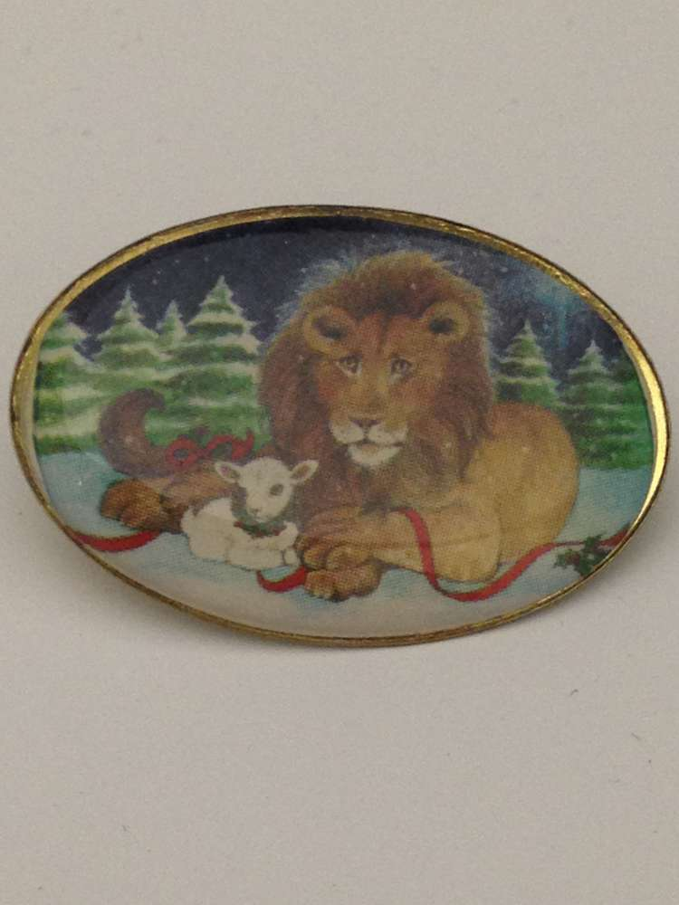 Lion & Lamb Lapel Pin Lapel pin, shirt pin, seasonal pin,lion pin, lamb pin, christmas, stocking stuffer, retreat, 72283