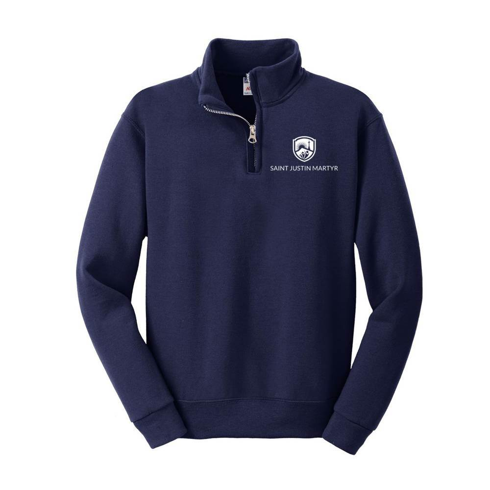 SJM Embroidered Quarter Zip Uniform Sweatshirt spirit wear, spiritwear, school spirit gear, school fleece, school pullover, school sweatshirt, school bookstore items, school accessories, custom school spiritwear, custom school gift items, custom school spirit wear