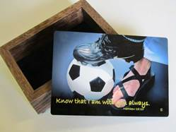 Sports Keepsake Boxes-Soccer communion gift, reconciliation gift, confirmation gift,keepsake box, jewelry box, youth gift,  sport collectable box, sports prayer, prayer for athletes, soccer gift, soccer keepsake box