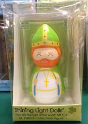 St. Patrick Shining Light Doll Figurine st patrick statue, saint patrick statue, shinign light dolls, shining light dolls, shining light statues, irish saint statue, patrick statue
