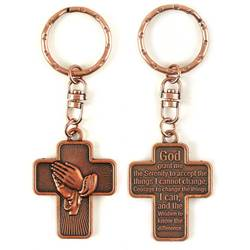 Cross with Serenity Prayer Keyring key ring, auto keychain, cross keychain, copper keychain, 12steps, KC-3007