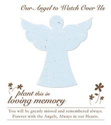 Memorial Plantable Angel on Forget Me Not Seeded Paper 15/Pkg funeral gifts, funeral distribution gifts, holy cards for funerals, prayer cards for funerals, gifts to give out at funerals, funeral mass gifts, remembrance gifts for loved ones, funeral gift, memorial favors, funeral favors