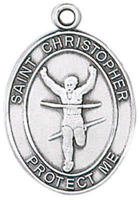 St. Christopher Sports Medal-Track silver necklace, st. christopher necklace, sports necklace, girl necklace, boy necklace, athlete gift,  first communion gift, reconciliation gift, sacramental gift, sport gift, track gift, track medal