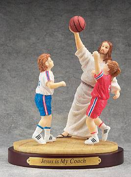 Jesus Sports Statue-Basketball jesus is my coach, sports statue, first communion gift, reconciliation gift, confirmation gift, youth gift, birhtday gift, boy gift, girl gift, sport gift, athlete gift, basketball gift, basketball statue