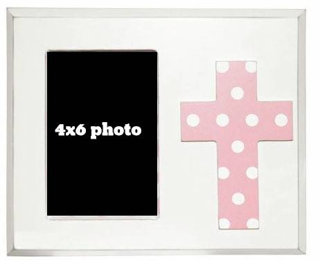 Pink Cross Frame cross photo frame, wood frame, sacramental gift, confirmation frame, communion frame, RCIA frame, cross gift frame, home decor, cfpi/6738