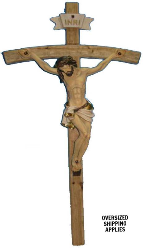 "40"" Wall Crucifix color crucifix, wall cross, wall crucifix, marble corpus, home decor, church decor, wood look crucifix, HL06453-1B"