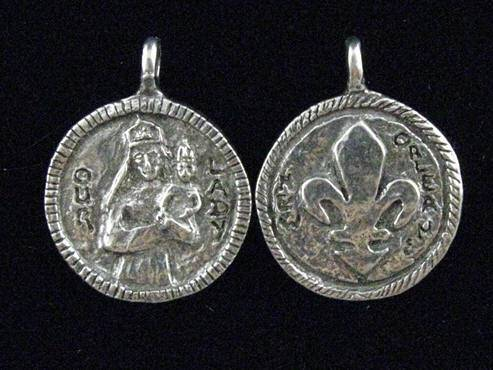 "1"" Our Lady of Prompt Succor MedalWHILE SUPPLIES LAST patron saint medal, pewter medal, necklace, keyring, patron of procrastinators,patron of New Orleans, female saint, 15252"