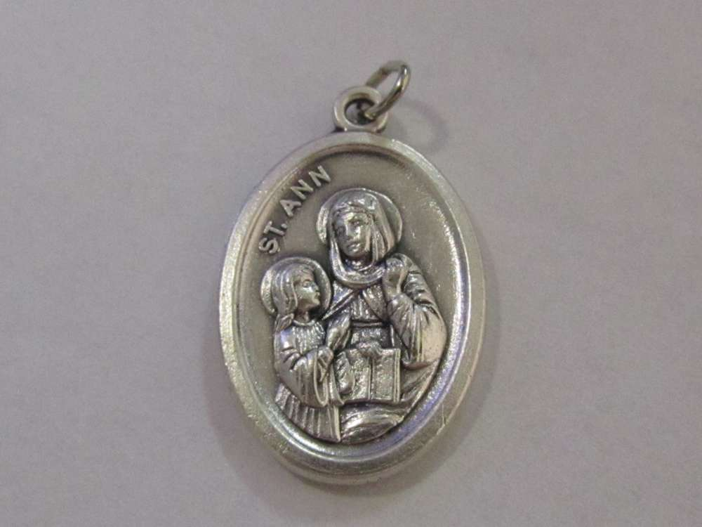 "1"" St. Ann Oxidized Medal Patron saint, medals, oxidized medal,1"" medal, medal only, sacramental gift, special occasion gift, 14400"
