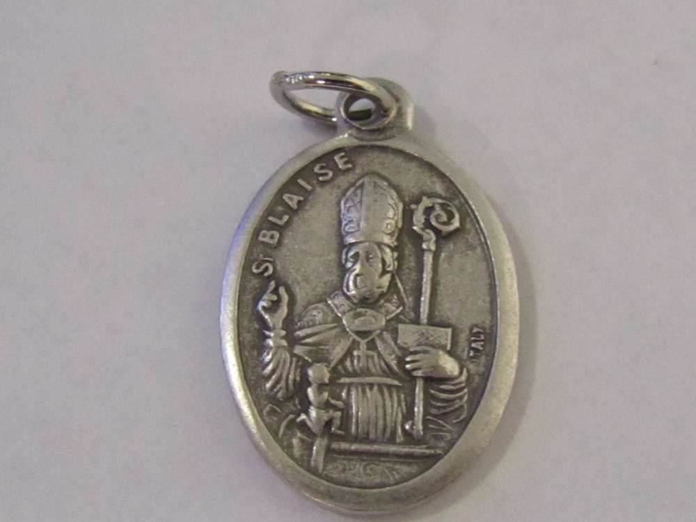 "1"" St. Blaise Oxidized Medal Patron saint, medals, oxidized medal,1"" medal, medal only, sacramental gift, special occasion gift,14430"