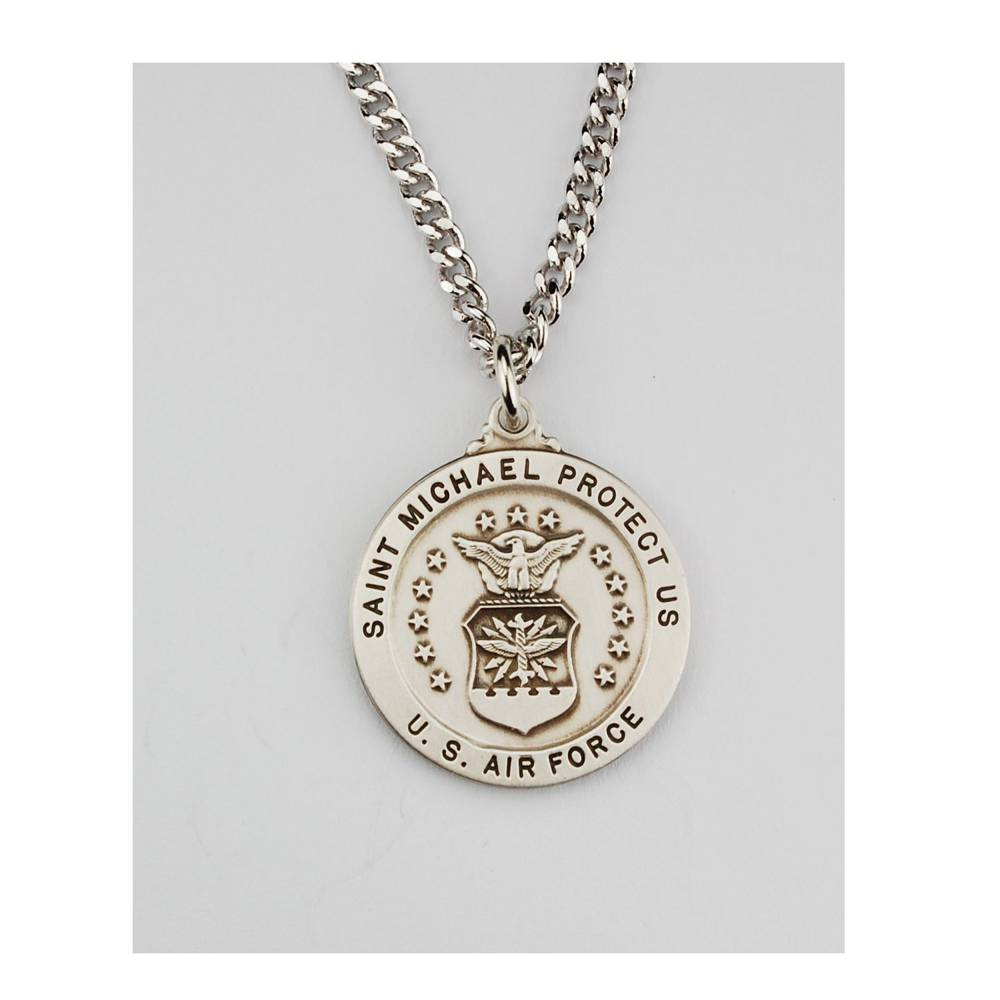 "1"" St. Michael Air Force Necklace st michael pendant, round necklace, military pendant, protector necklace, l650af, air force gift, occupational gift, sterling silver necklace,"
