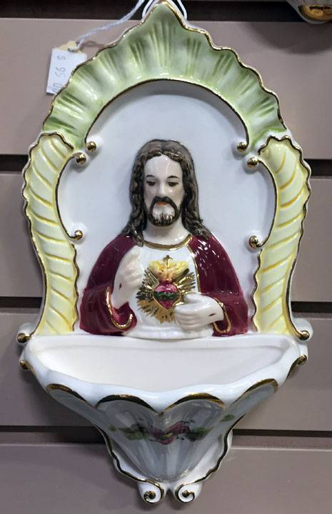 "10.5"" Sacred Heart Della Robbia Holy Water Font *WHILE SUPPLIES LAST*"