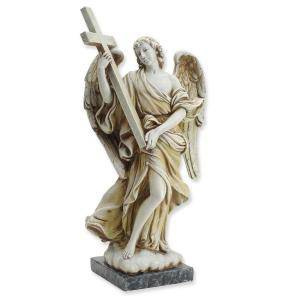 "11.75"" Angel With Cross Statue"