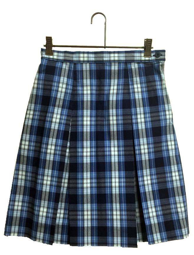 #76 Box Pleat Uniform Skirt school uniform skirt, plaid skirt, plaid uniform skirt, qas, qas uniform, queen of all saints skirt, blue plaid skirt