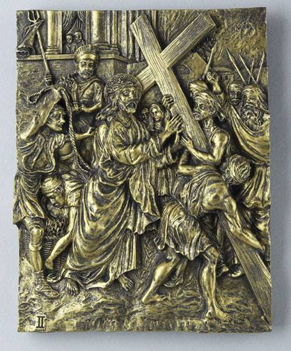 14 Piece Stations of the Cross -Bronze Finish  stations of the cross, bronze finish, church goods, wall decor, 14 piece set, wall relief,