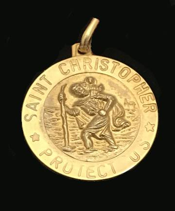 14KT Gold St. Christopher Medal Only St Chrstphr Medal Made In Italy 3-18