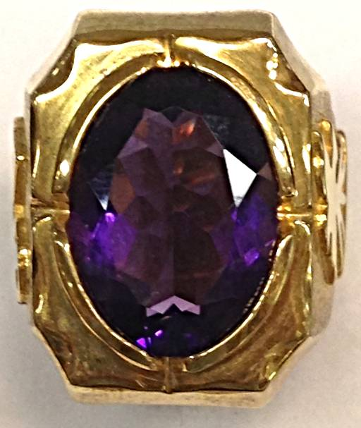 1668D Gold Plated Ring W/ Purple Synth Stones - Ss Made In Italy