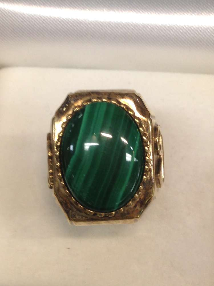 1670A Gold Plated Ring with Green Stone