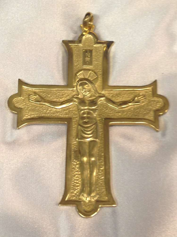 1698B Pectoral Cross Gold Plate - Sterling Silver Made In Italy