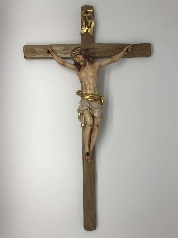 "19 1/2"" Pisa Color Maple Wood Crucifix church goods, church crucifix, wood crucifix, Italian crucifix, hand carved, bergland, artisan, colored crucifix, 6028/24"