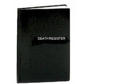 Death Register-Small Edition church goods, register books, marriage, baptism, communion, confirmation, death