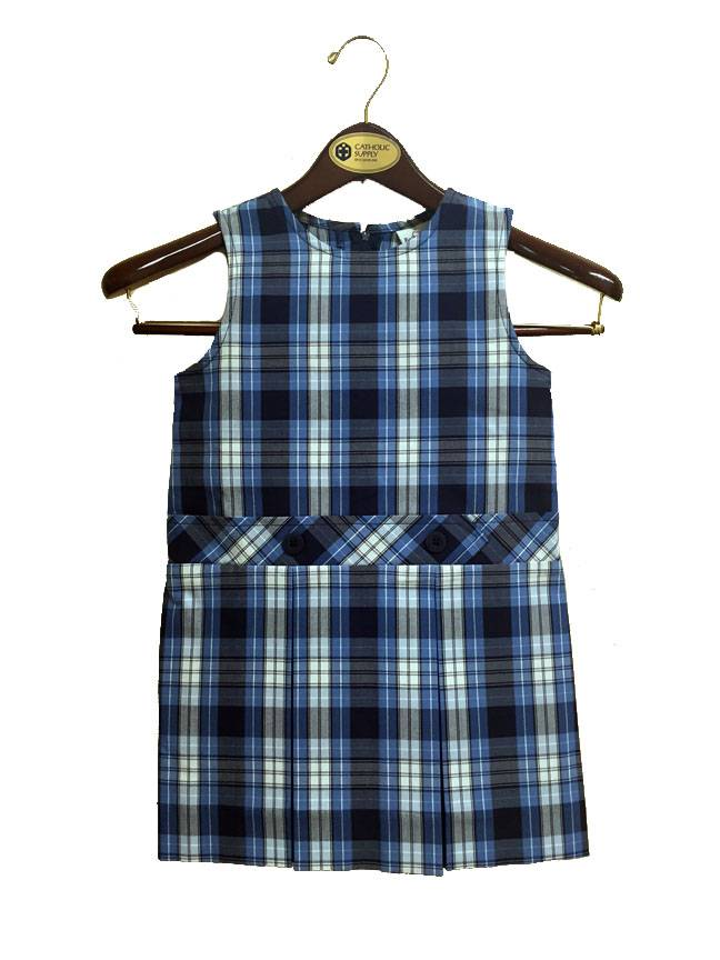 #76 Drop Waist Uniform Jumper plaid jumper, school uniform jumper, qas, queen of all saints jumper, qas uniform, plaid blue jumper, blue plaid jumper