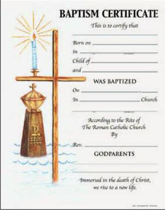 Baptism Certificate with Envelope certificate, church goods, sacramental certificates, baptism, first communion, confirmation, marriage, death,