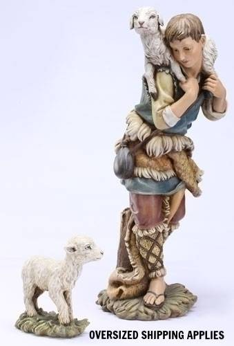 "27"" Scale Colored Shepherd and Lamb JS27, nativity, nativity lamb and shepherd,color nativity, nativity animals, resin statue, joseph studio, outdoor decor, indoor decor, christmas yard decor, 36192"