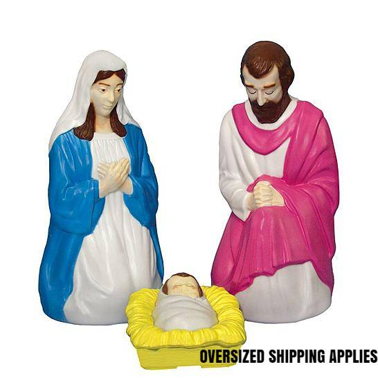 "28"" Scale Lighted Outdoor 3 Piece Holy Family  GF29, outdoor nativity, indoor nativity, color nativity, christmas gift, christmas decor, yard decor, church gift, church items, holy family,57030"