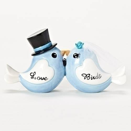 "3"" Love Birds love birds, wedding gift, shower gift, porcelain birds, kissing birds, bride and groom, blue birds, 10759"