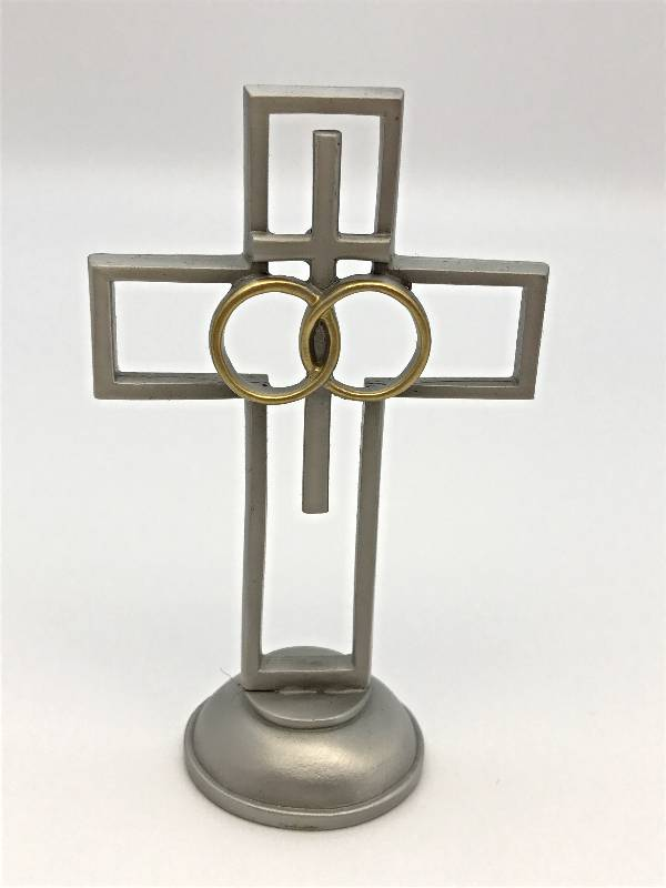"4"" Pewter Wedding Cross  wedding cross, pewter cross, standing cross, anniversary  cross, two-toned cross, tabletop cross, JC-123-E"
